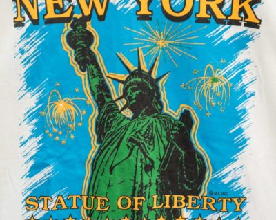 TEE SHIRT – NEW YORK – MANCHE COURTE BLANC «STATUE OF LIBERTY» – Size L