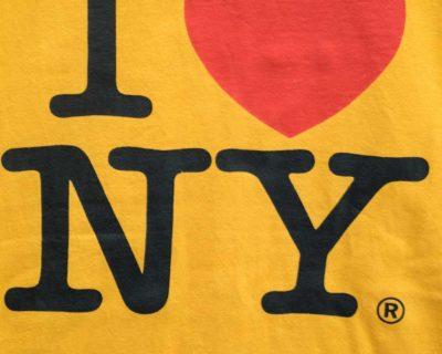 "TEE SHIRT – GILDAN – MANCHE COURTE ORANGE ""I ♡ NY"" – Size S/M"